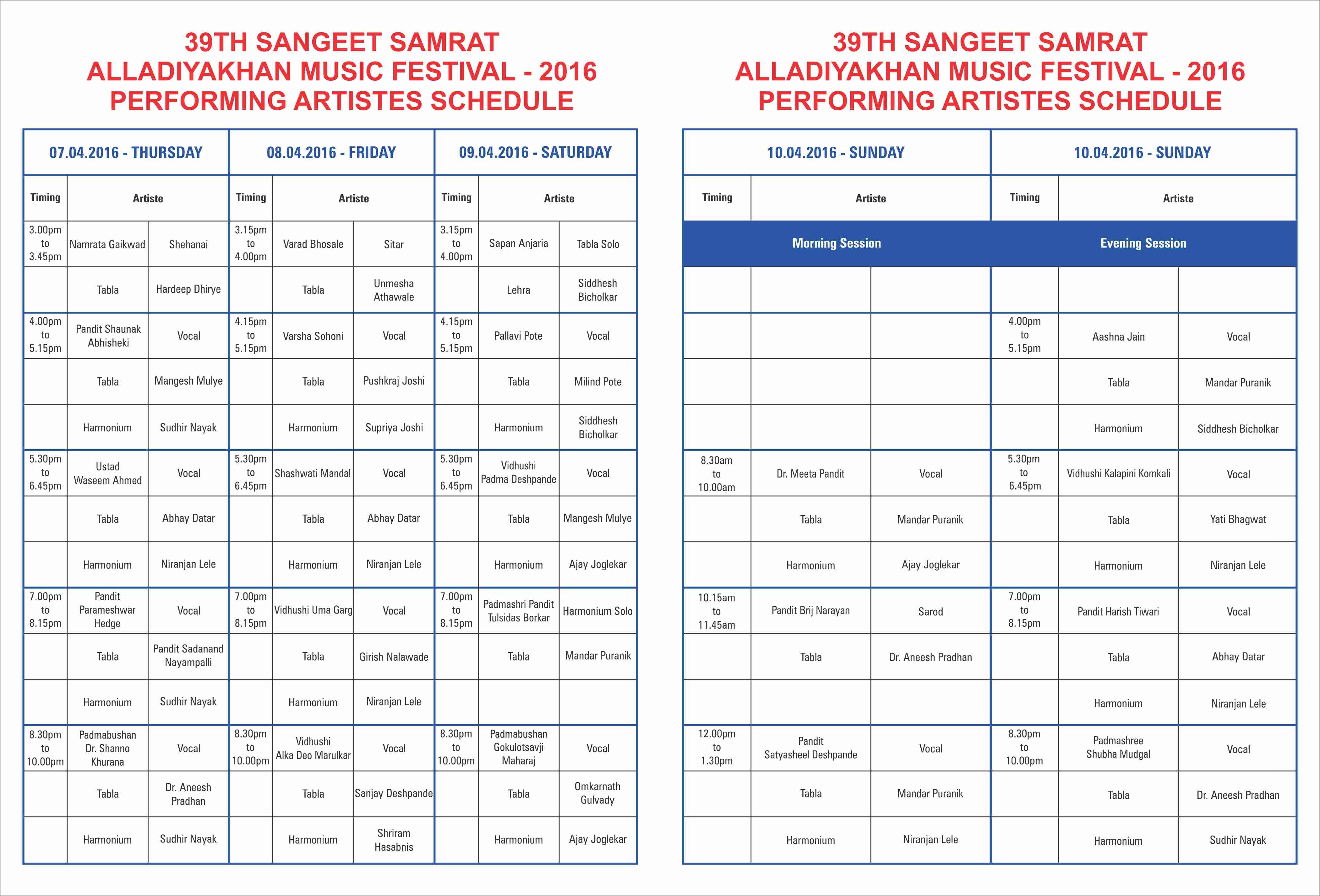 Sangeet Samarat Programme schedule